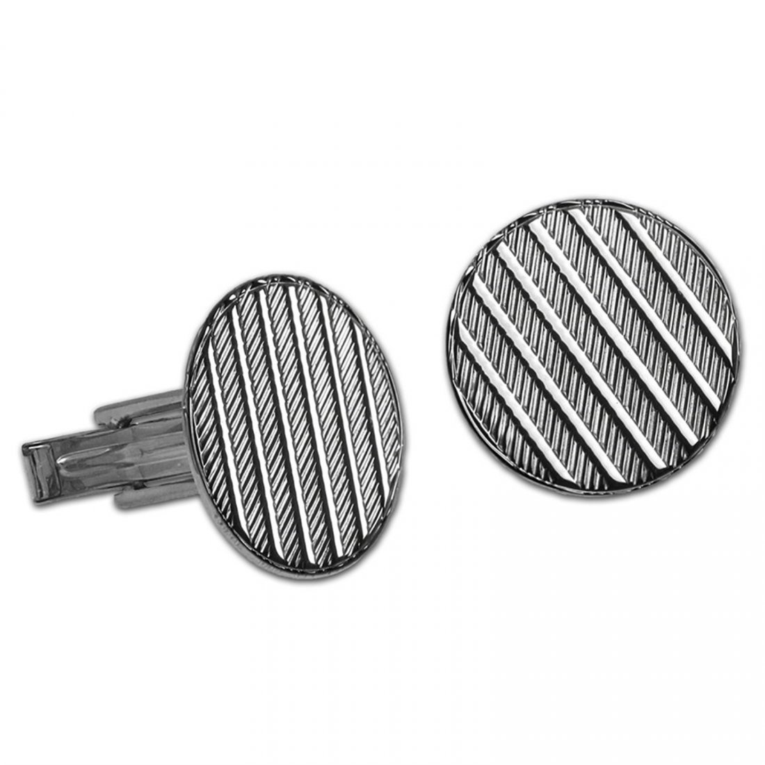 Sterling Silver Textured Cuff Links (Round)
