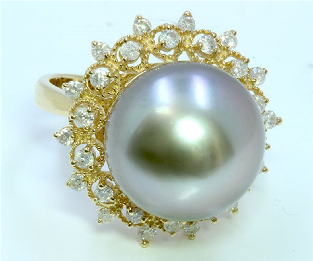 Diamond 0.75 ct Ring, Pearl Approx.14.5mm, 9.07gr 14K