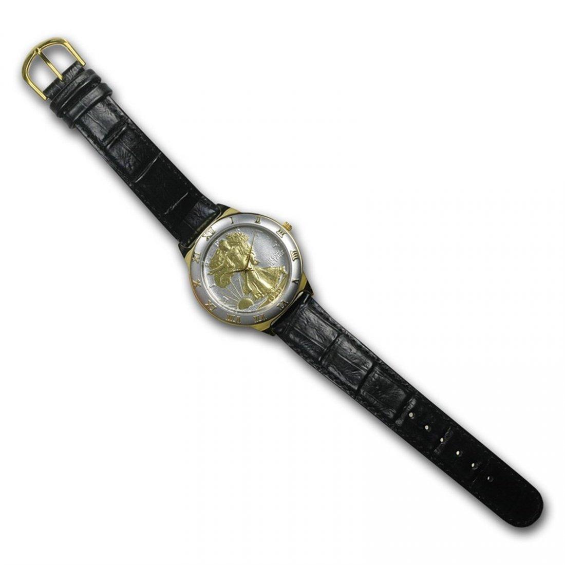 Men's Walking Liberty Half Dollar Watch - Black Leather
