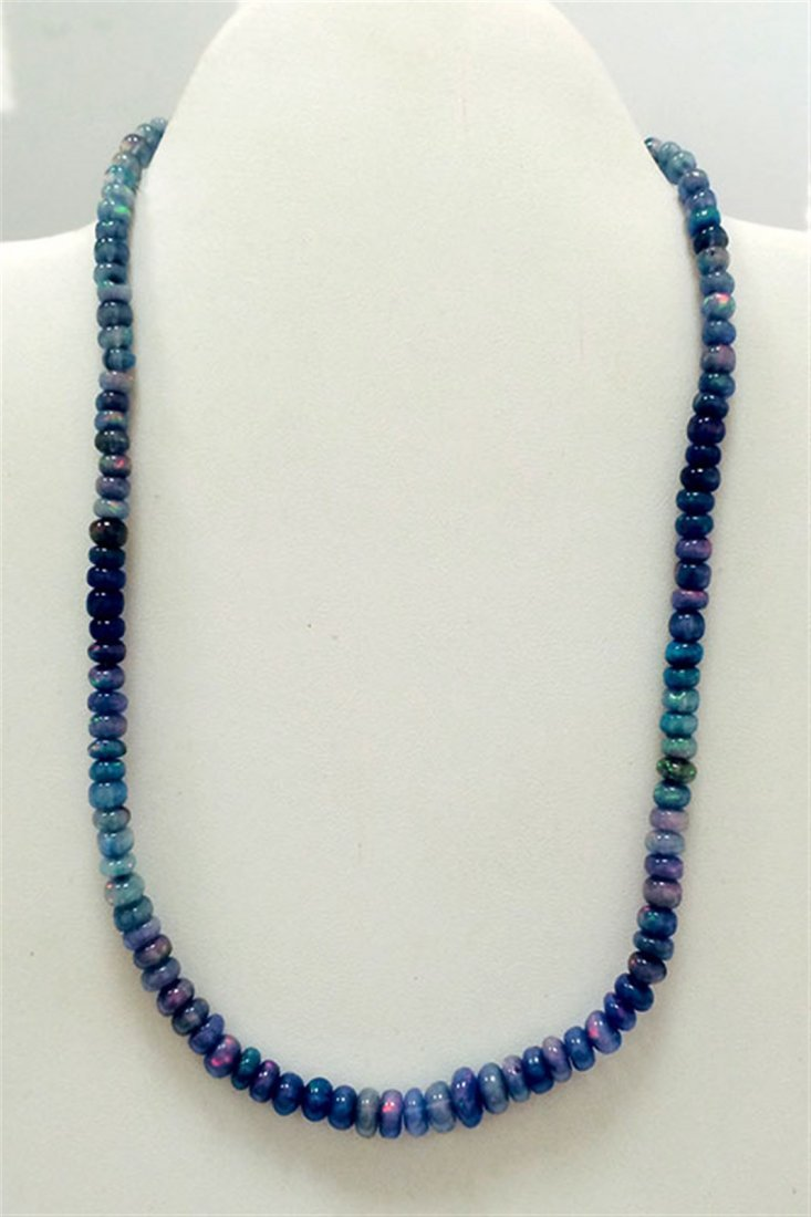 75 ct & up Opal Smooth Rondelle Fire Beaded Necklace