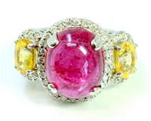Rubellite Cabochion Oval 8.58Ct / Yellow Sapphire
