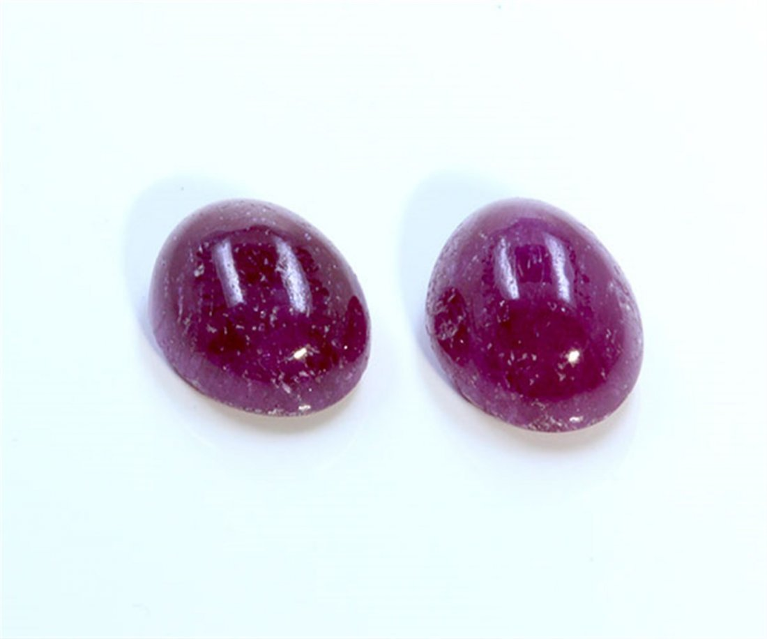 5 ct & up Cabuchon Ruby Oval Shaped ctw 2Pcs