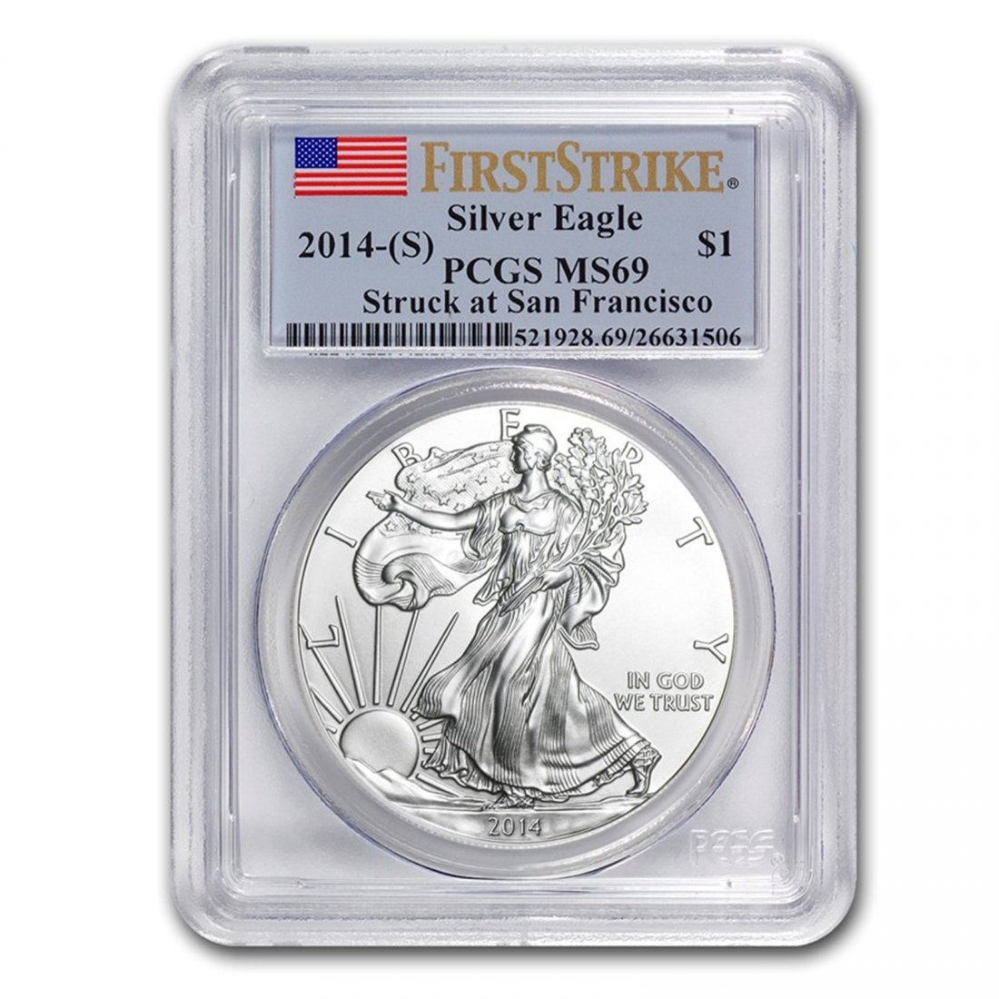 2014 (S) Silver American Eagle MS-69 PCGS (First