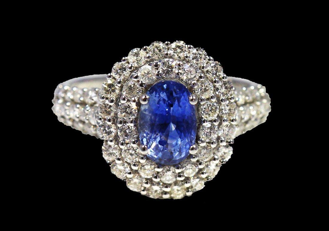 Blue Sapphire  4.50 ctw & Diamond Ring 18KW