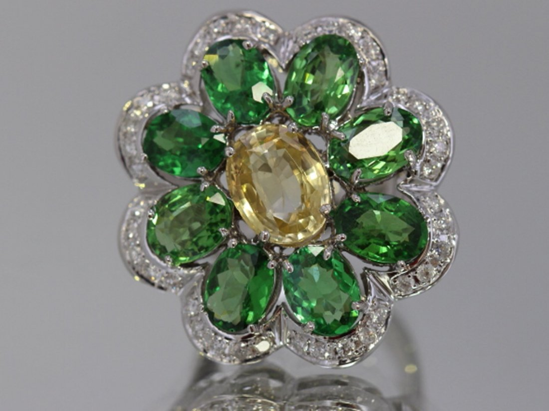 Yellow Sapphire, Tsavorite  14.34 ctw & Diamond Flower