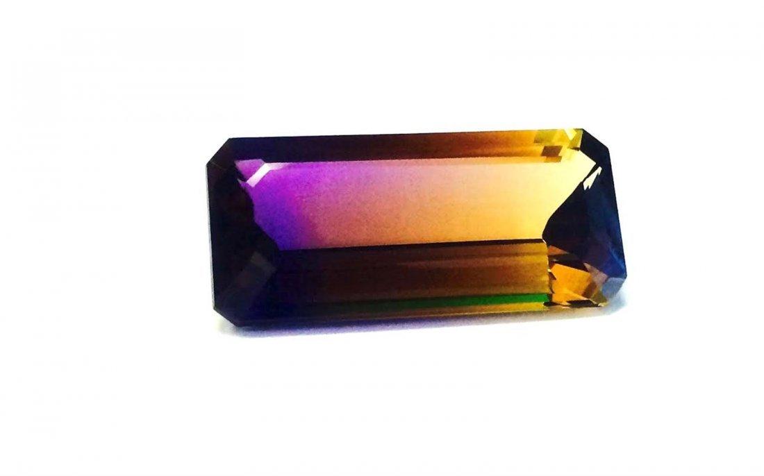34.08 ct  & up AMETRINE RADIANT Bi Color Quartz
