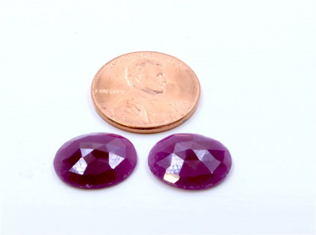 10 ct & up Natural Ruby Round Shaped Loose Stone 2Pcs