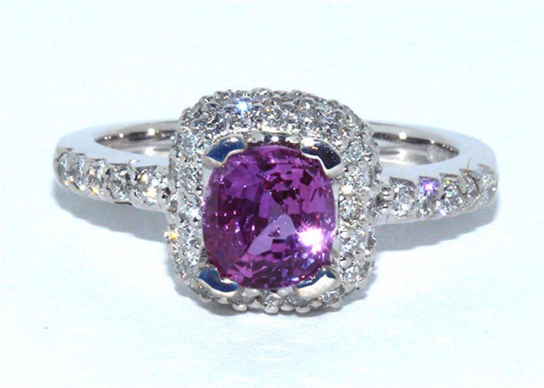Pink Sapphire  2.72 ctw & Diamond Ring 14KW