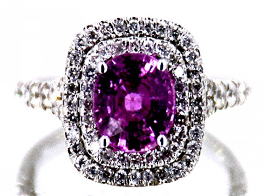 Ceylon Pink Sapphire  2.81 ctw Diamond Ring 14KW
