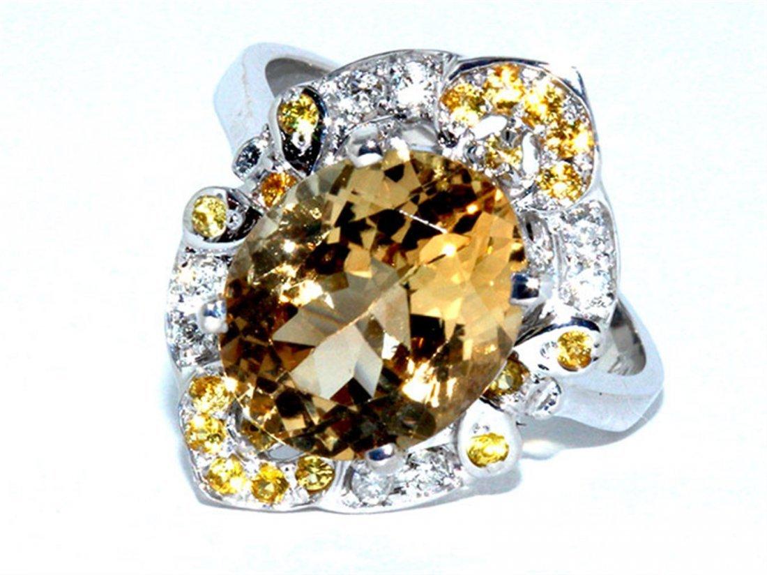 Yellow Tourmaline  5.51 ctw Diamond Ring 14KW