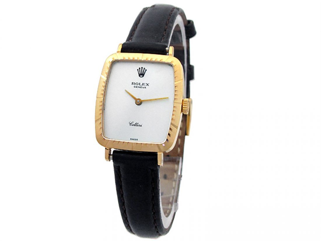 Lady Rolex 18K Yellow Gold Cellini Watch. Silver Dial.