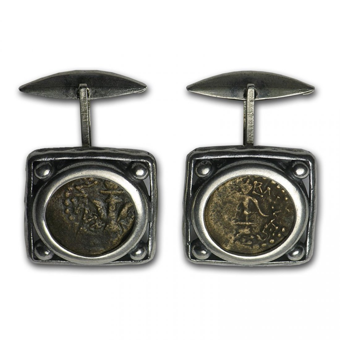 Sterling Silver & Bronze Antiques Widows Mite Coin Cuff