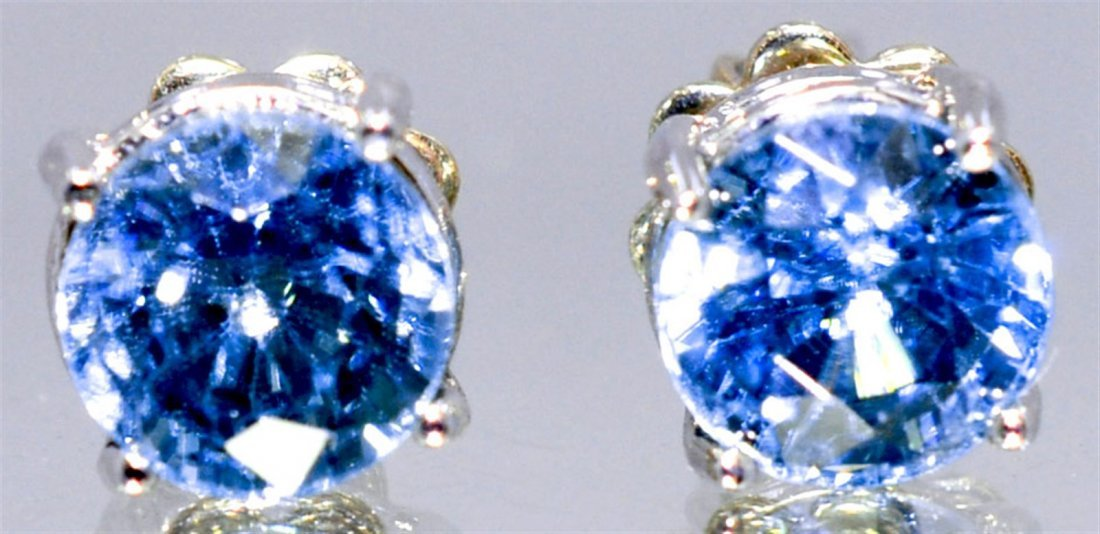 Tanzanite Stud Earrings  3.0 ctw 14KW