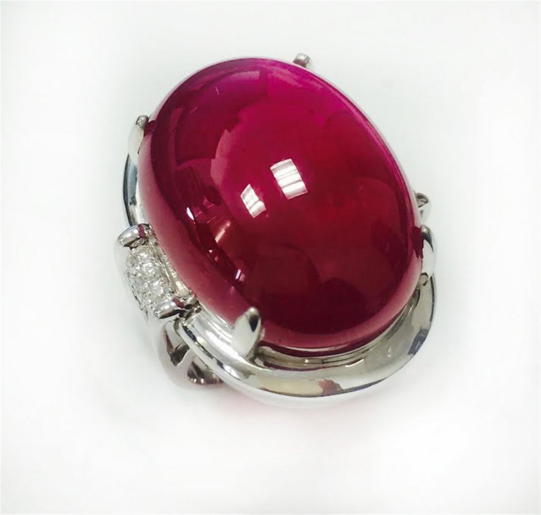 RUBY CAB 55.28CT, 14K W/G RING 11.79GRAM / DIAMOND