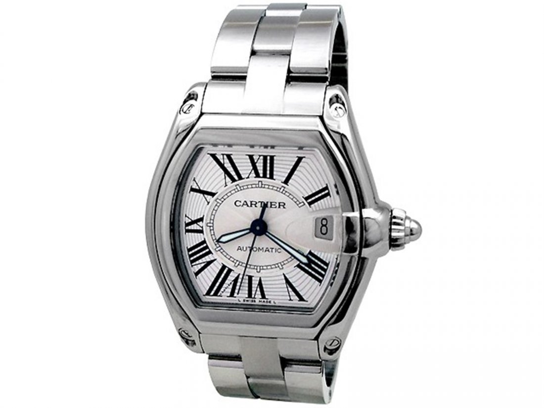 Large Cartier Stainless Steel Roadster Watch. Silver