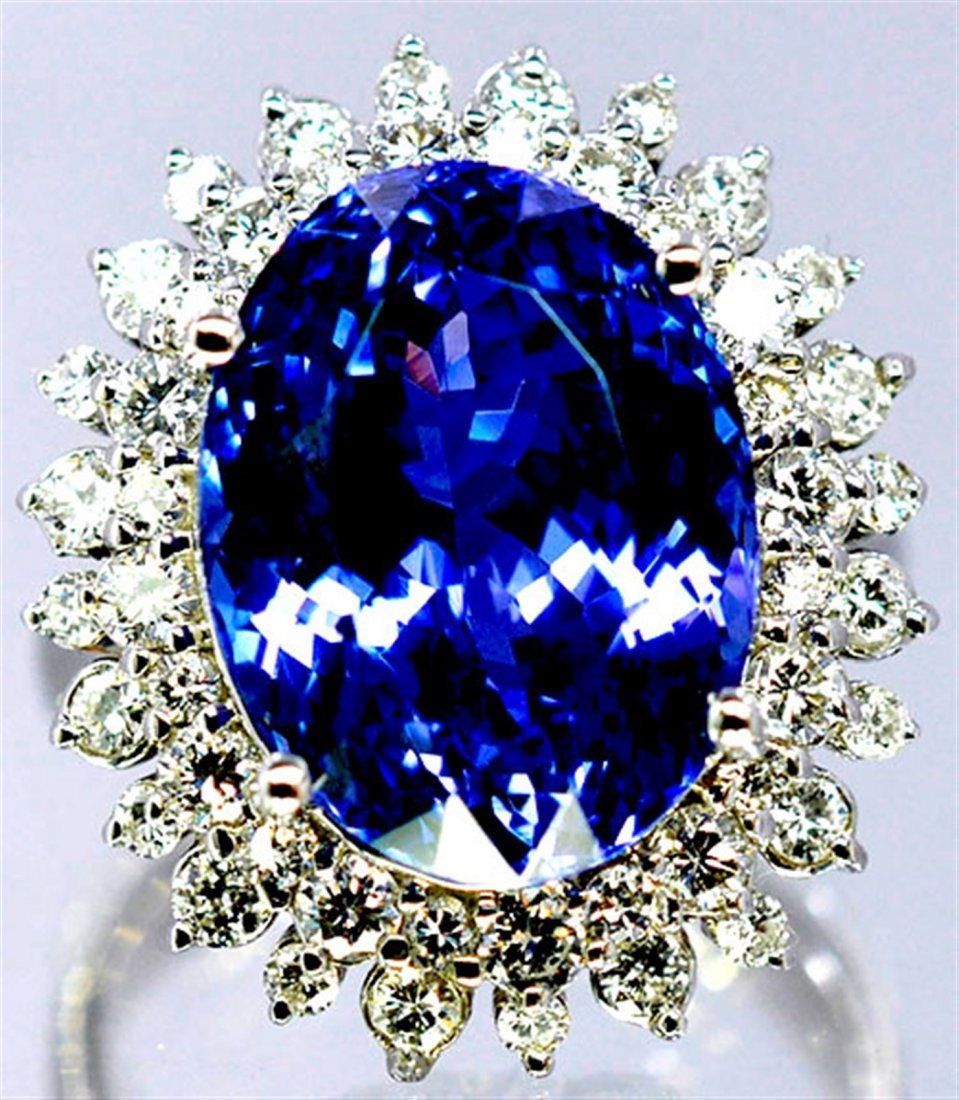 Tanzanite  13.15 ctw Diamond Cocktail Ring 14KW