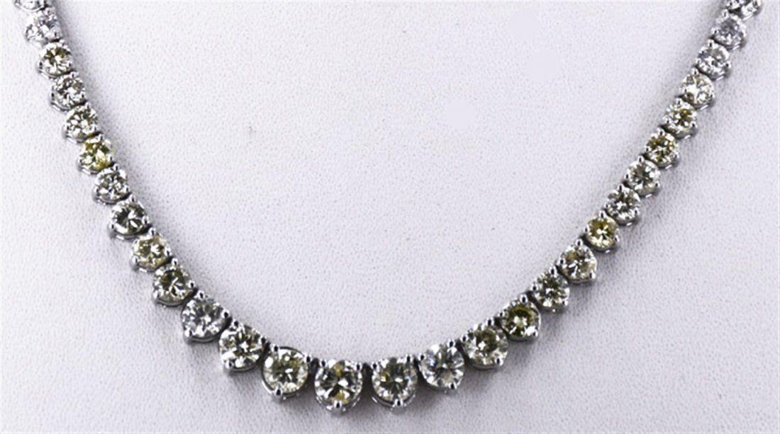 Yellow Fancy Diamond  9.18ctw Necklace 14KW