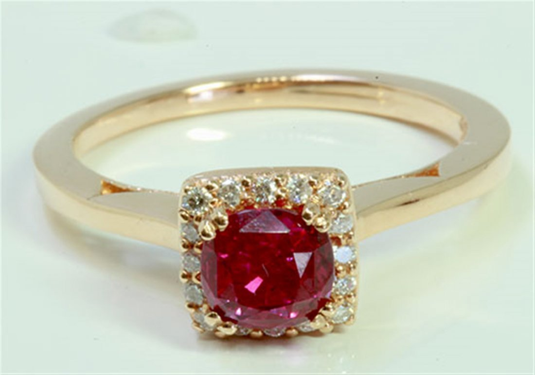 Ruby 1.25Ct / Diamond 0.13Ct / 14K Rose Gold Ring 3.26
