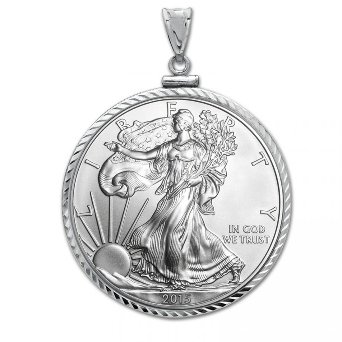 2015 1 oz Silver Eagle Pendant (Diamond-ScrewTop Bezel)