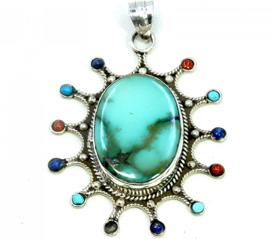 Sterling Silver .925 Turquoise Pendant 15.6g Dim.
