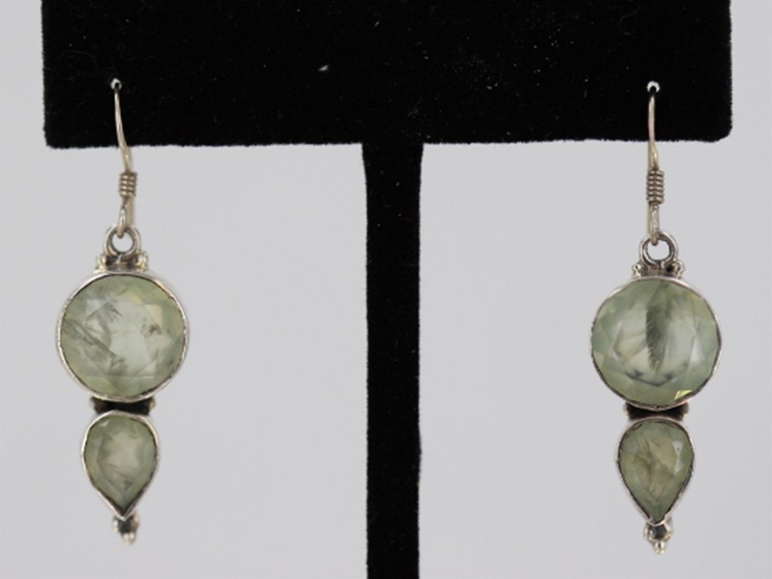 Sterling Silver .925 Vintage Quartz Earrings