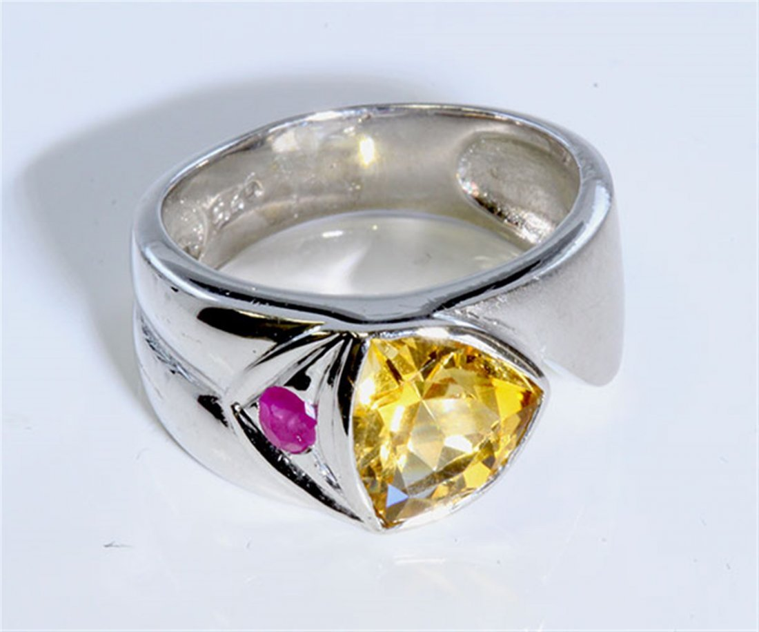 Sterling Silver .925 Citrine W/ Ruby Ring