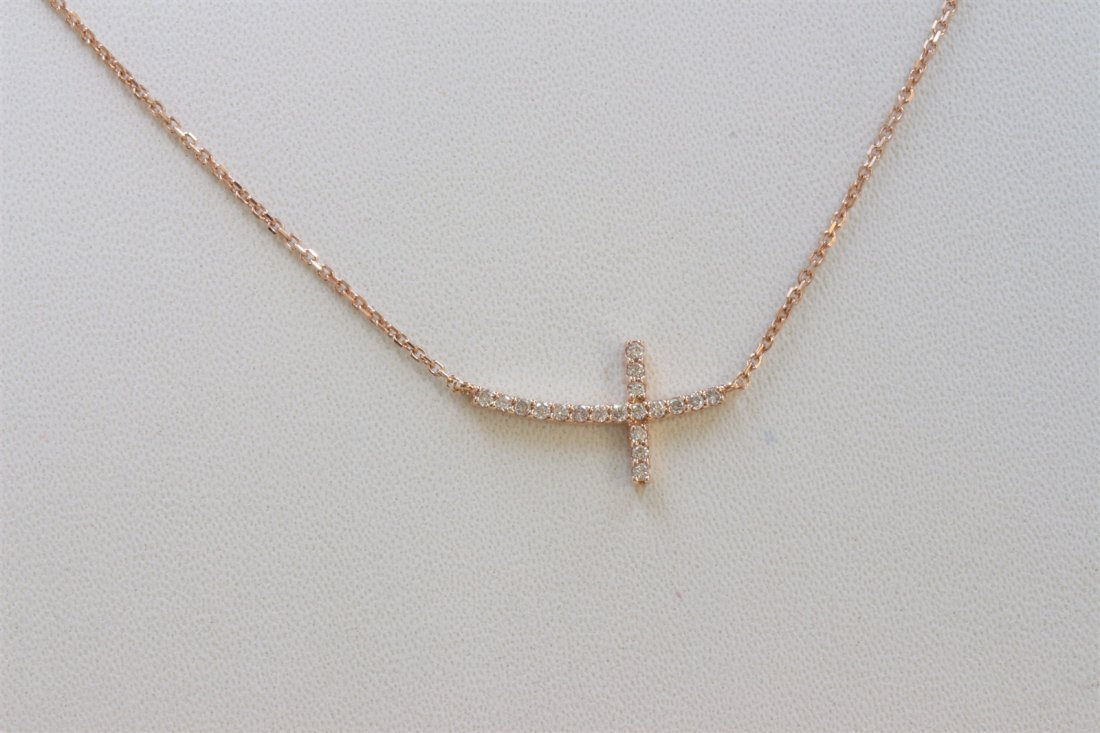14K ROSE GOLD CROSS PENDANT WITH CHAIN