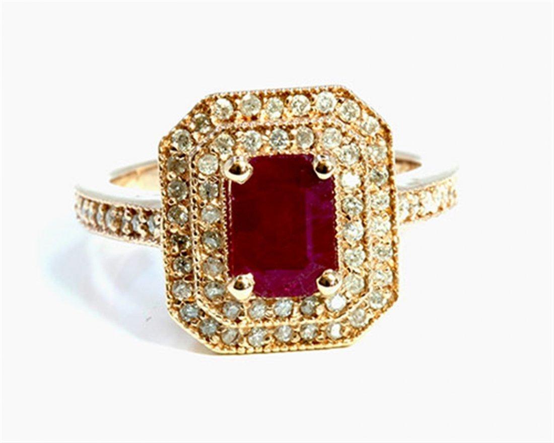 Natural Ruby 1.10ct / Diamond 0.35ct / 14K Rose Gold