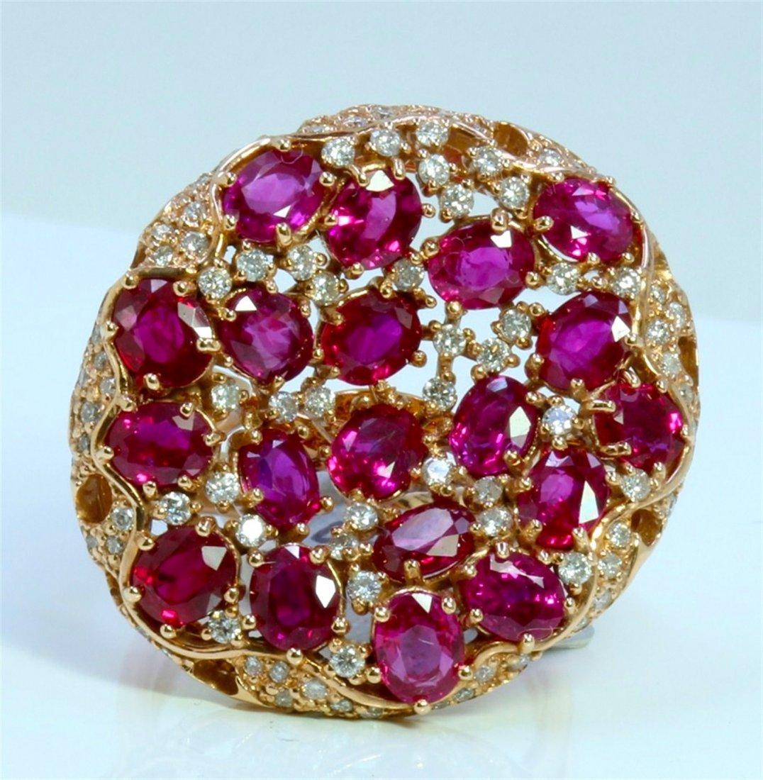 14K ROSE GOLD RING 11.12GRAM DIAMOND 0.81CT RUBY 7.10CT