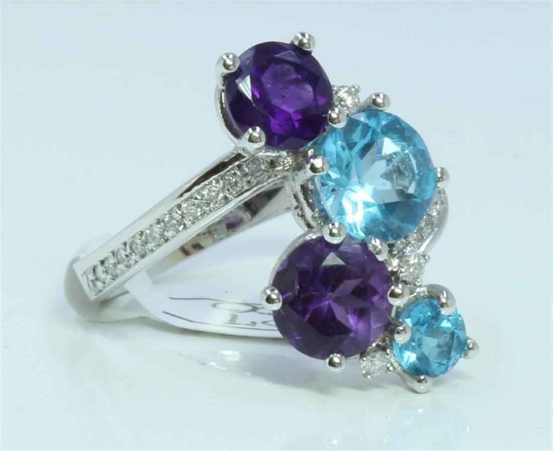 14K WHITE GOLD RING 5 GRAM  DIAMOND 0.17CT BLUE TOPAZ