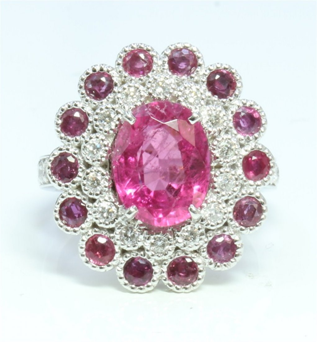 14K WHITE GOLD RING 8.1GRAM DIAMOND 0.59CT RUBY 1.14CT