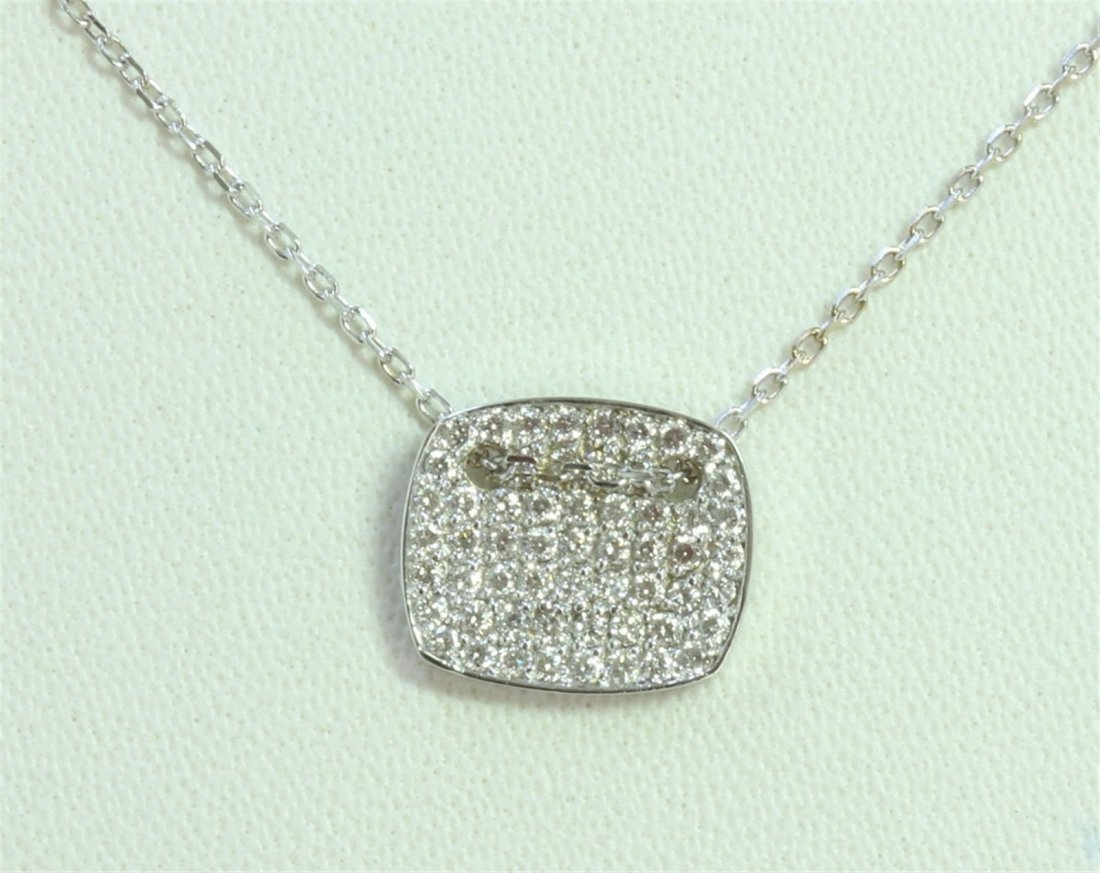 14K WHITE GOLD PENDANT WITH CHAIN 2.51g/Diamond 0.37ct