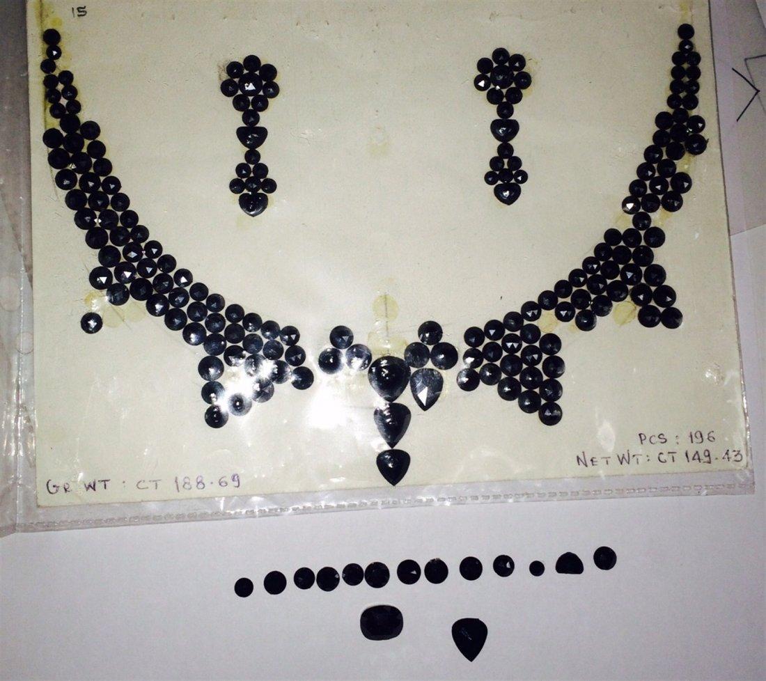 Natural black diamond rose cut necklace 250 ct