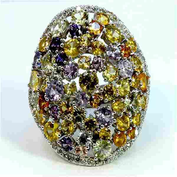 NATURAL CEYLONG MIX SAPPHIRE 11.75CT / DIAMOND 0.63CT /