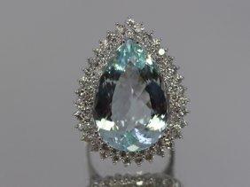 Aquamarine 20.53 Ctw Diamond Cocktail Ring 14kw
