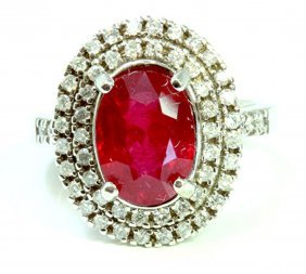 Ruby 4.59ct Approx / Diamond 0.59ct / 14k White Gold
