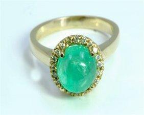 Natural Emerald 2.95ct / Diamond 0.17ct / 14k Yellow