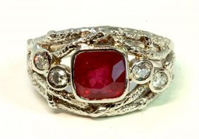 Ruby 2.17ct / Diamond 0.28ct / 14k White Gold Ring 7.03