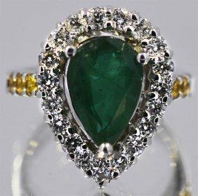 Emerald Yellow Sapphire 4.30 Ctw Diamond Cocktail Ring