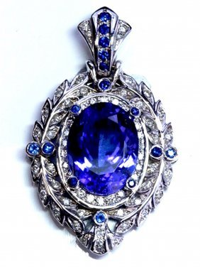 Tanzanite 18.98 Ctw Blue Sapphire Diamond Pendant 14kw