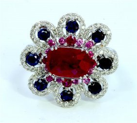 Gia Ruby 3.03ct Center Ruby Side Small 0.20ct Blue