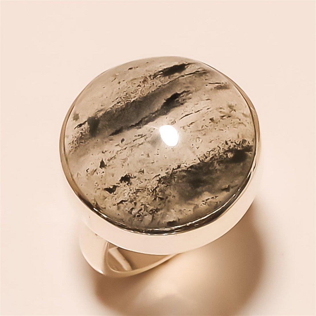 Black quartz RING Solid Sterling Silver