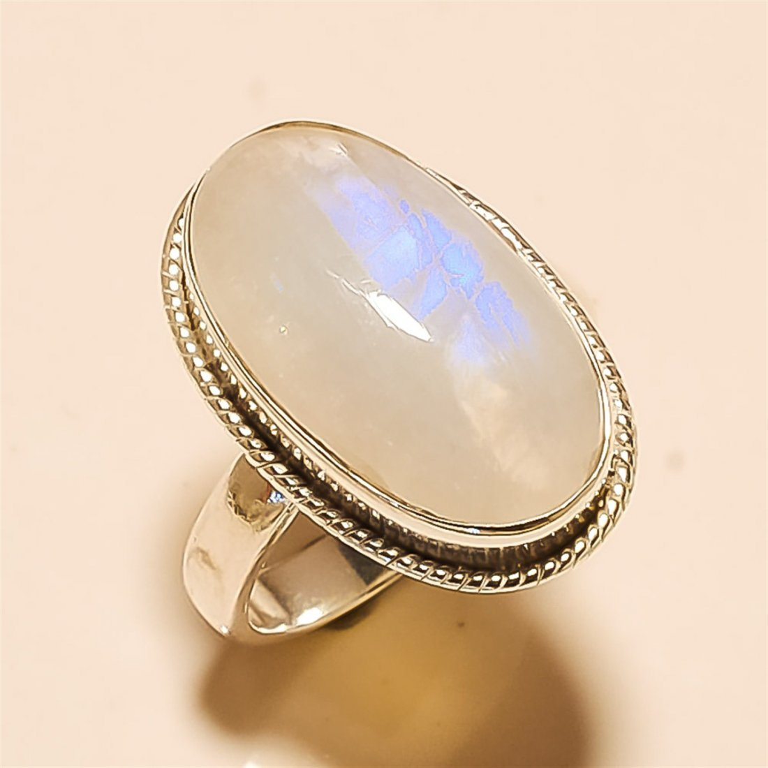 Moonstone RING Solid Sterling Silver