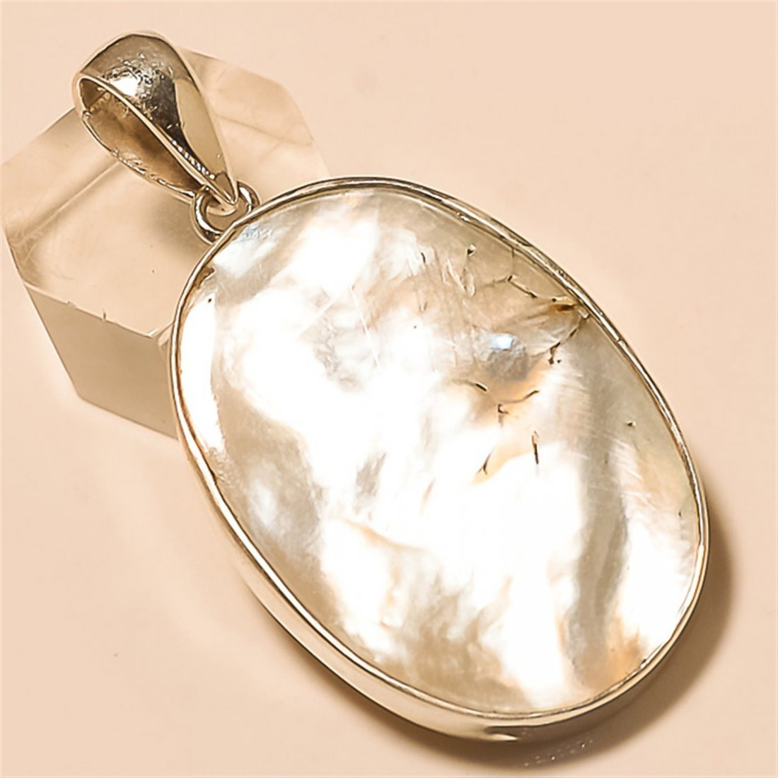Mother Of Pearl Pendant Solid Sterling Silver