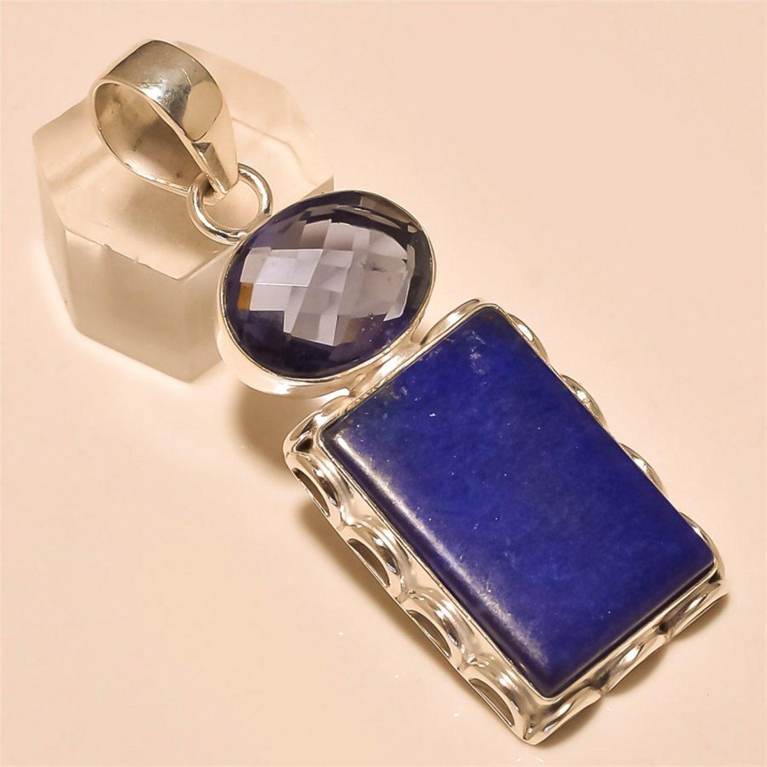 Blue Lapis/Iolite Pendant Solid Sterling Silver