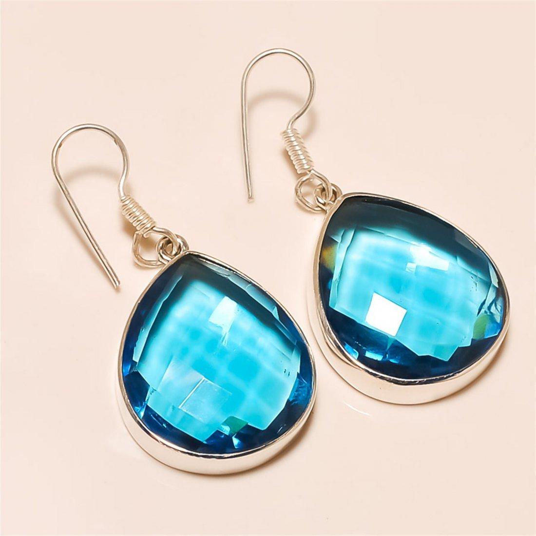 blue topaz Earring Solid Sterling Silver