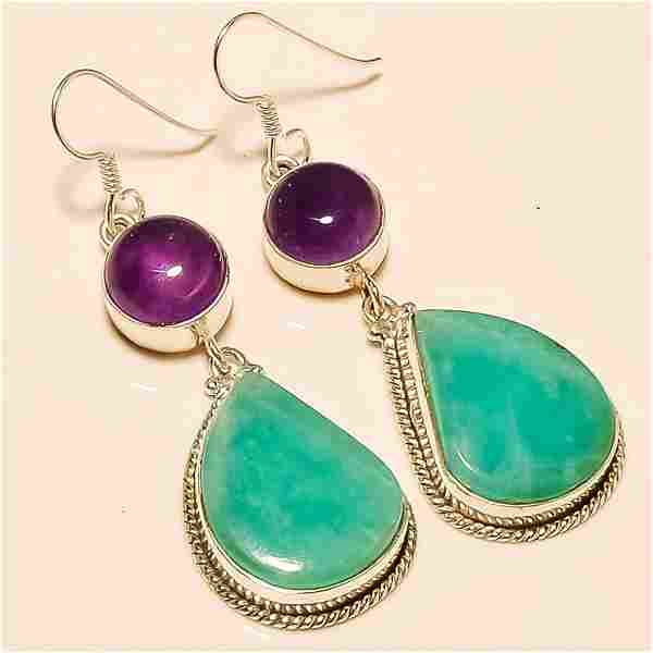 Amazonite/Amethyst Earring Solid Sterling Silver