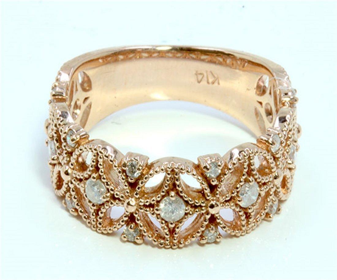 Diamond 0.35 ct Ring, 4.64 gram 14K Rose Gold