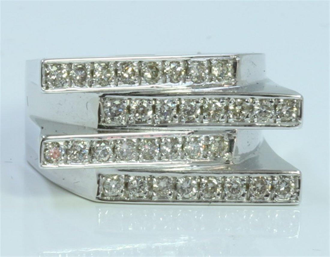 14K WHITE GOLD RING 11.39 GRAM  DIAMOND 0.74CT