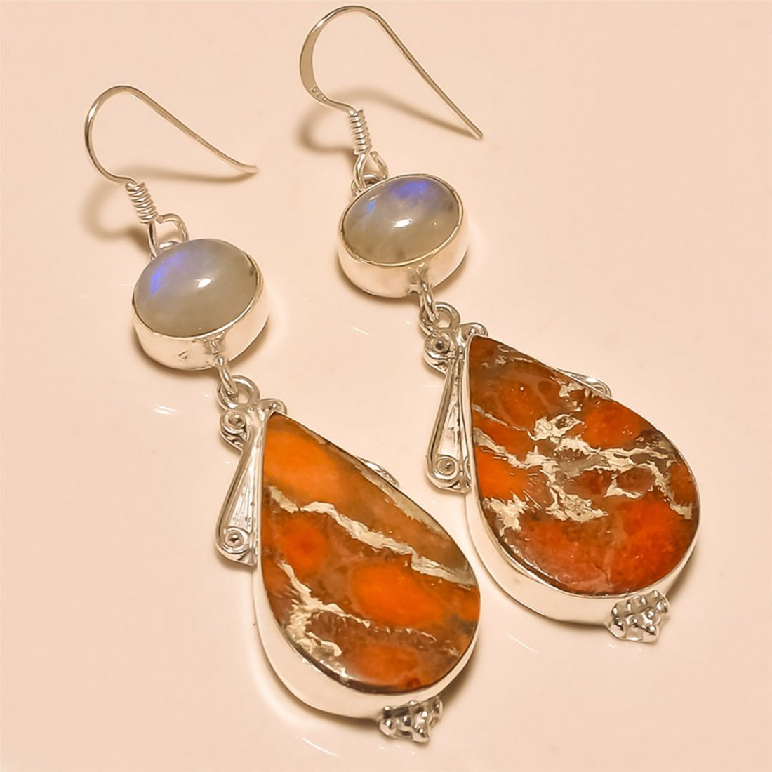 Orange Copper Turquoise/Moonstone Earring Solid
